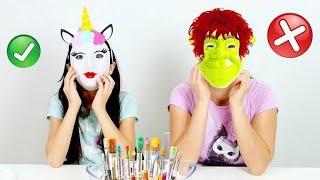Colorindo MÁscara Com 3 Cores ★ Pintando Máscaras De Carnaval Com A Mamãe (3 Markers Challenge)