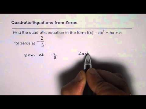 Find Quadratic Equation When Only One Root is Given
