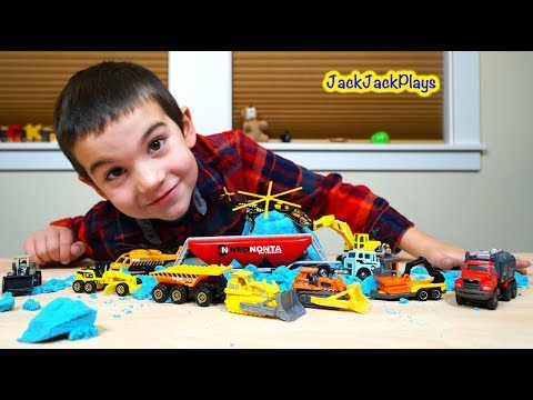 Matchbox Trucks Surprise Toy Unboxing: Kid Playing with Diggers in Cool Sand