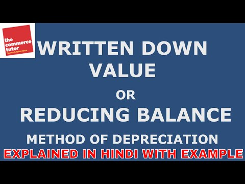 WDV or REDUCING BALANCE METHOD OF DEPRECIATION EXPLAINED IN HINDI