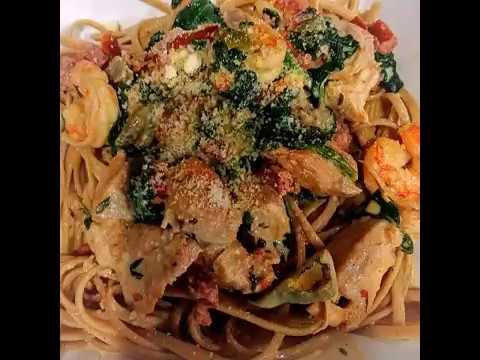 Cajun shrimp chicken, sausage pasta dish! Tips BELOW⬇️