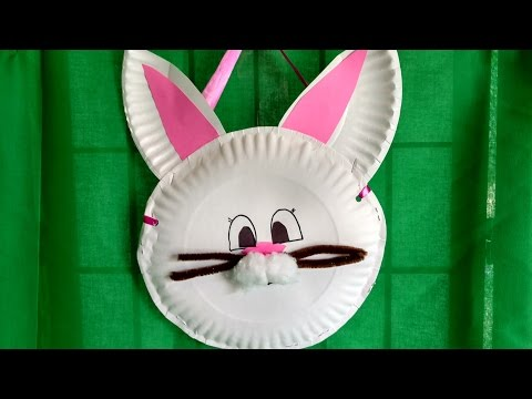 HOW TO MAKE a BUNNY BASKET from paper plates in 15 minutes. For kids. Thrifty and cute!