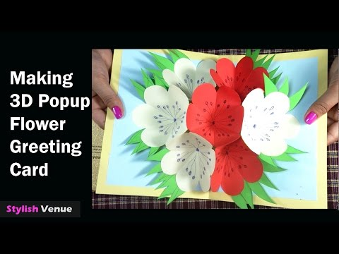 How To Make 3D Flower PopUp Greeting Cards - DIY Cards Making Tutorials