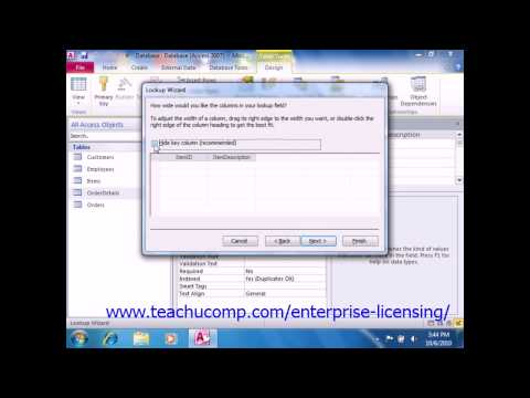 Microsoft Office Access Tutorial 2010 Joining Tables Lesson 5.3 Employee Group Training