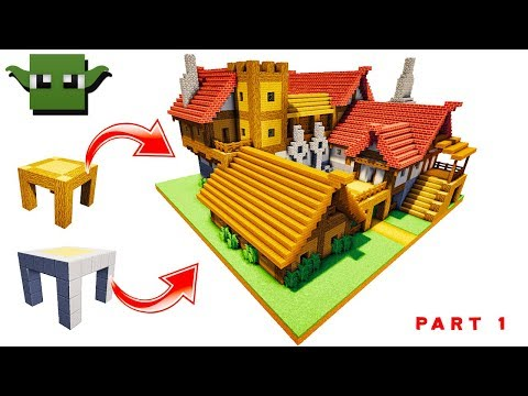 Minecraft Medieval Tavern Tutorial  #1/2 (EASY 5X5 BUILDING SYSTEM)