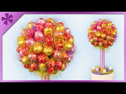 DIY How to make tree out of chocolate Easter eggs (ENG Subtitles) - Speed up #452