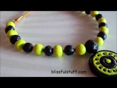 DIY- How to make simple terracotta necklace | No bake terracotta jewellery