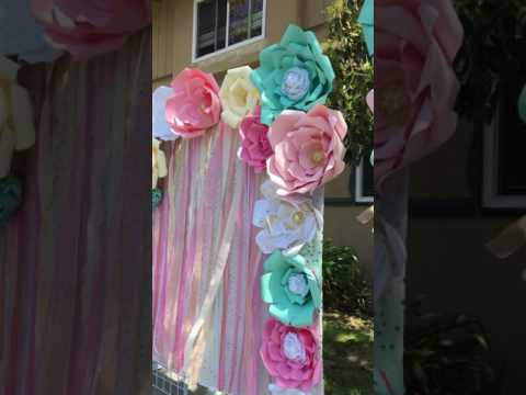 Unicorn First Birthday party Candy Table and Photo Booth Paper flowers Backdrops