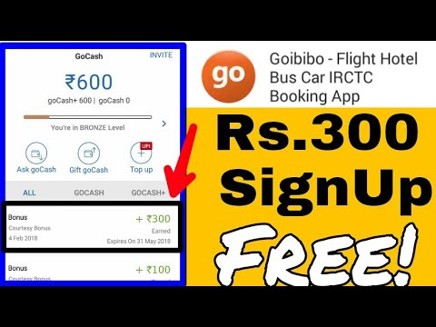 Get Rs 300 free go cash by Goibibo #book your train,hostel,bus free 2018