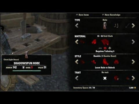 Elder Scrolls Online Clothing Tutorial / Guide Light Armor Part 1