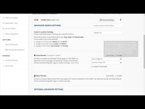 Create a Campaign  Advanced Search Engine Settings