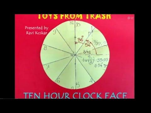TEN HOUR CLOCK FACE - HINDI - Divide a Circle into 10 equal sectors.