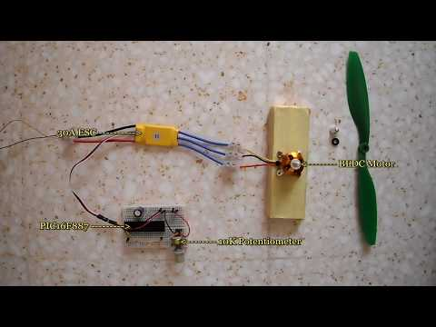 Brushless DC motor control with an ESC + PIC16F887