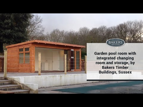 Garden pool room with integrated changing room and storage, by Bakers Timber Buildings, Sussex