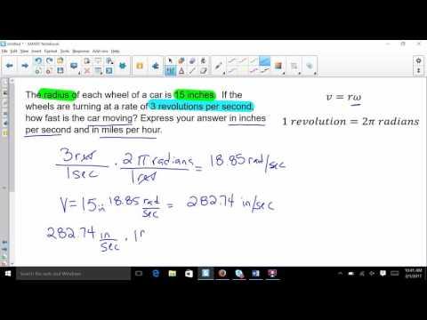 converting revolutions per sec to miles per hour