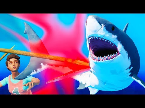 FIGHT THE NEW GIANT GREAT WHITE UNDER WATER!!! (Raft Gameplay / Raft Let's Play)