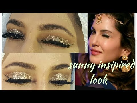 sunny leone  insipired makeup look/glittery eye makeup for begginers_hindi/urdu