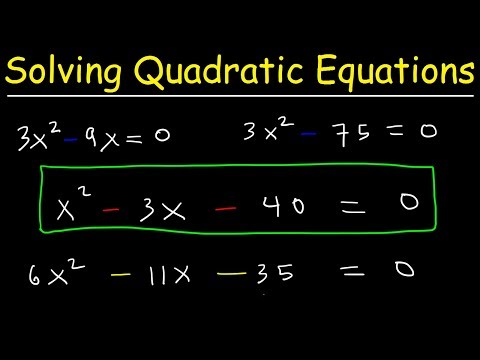 How To Solve Quadratic Equations By Factoring - Algebra Introduction