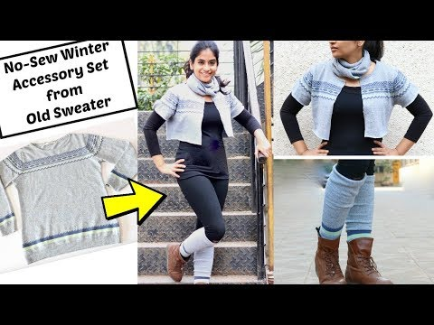 Convert Old Sweater into 3 Winter Accessories in 2 minutes | No-Sew Winter DIY