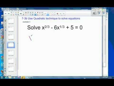 7 3 Example 3 solve by quadratic technique with fractional exponent