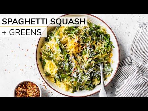 Clean Eating Spaghetti Squash With Collard Greens & Parmesan Cheese