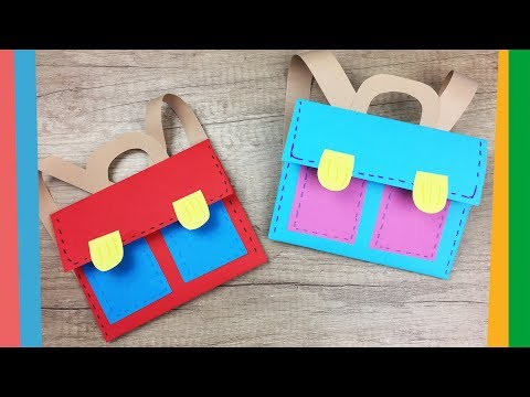 Back to school craft - Easy DIY paper School backpack for kids