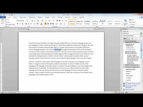 How to look up for words and find translation in Microsoft Word 2010
