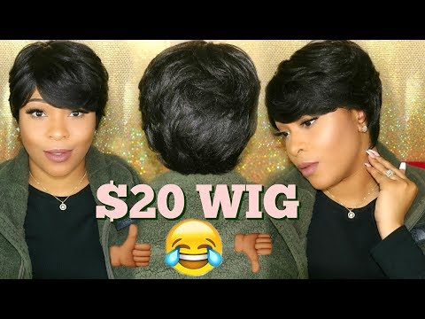 My First Time Wearing A Cheap $20 Synthetic Wig | 27 Piece Pixi Cut | Start To Finish Quick Weave