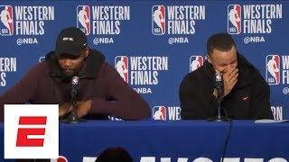 Kevin Durant, Steph Curry dodge question about Klay Thompson