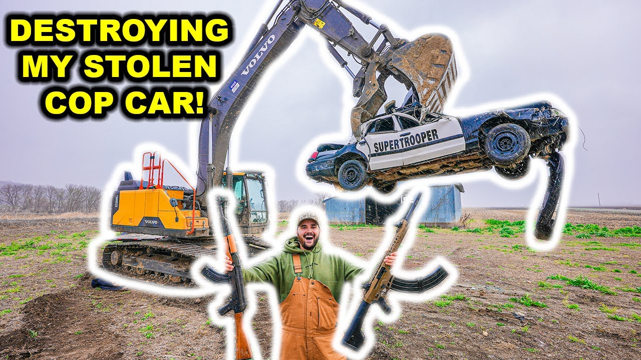 DESTROYING My STOLEN POLICE CAR with GIANT EXCAVATOR!!!