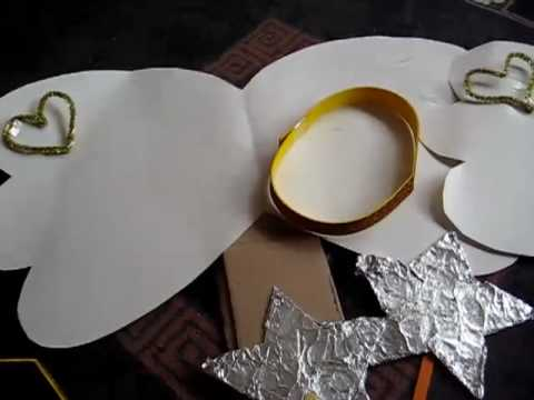 Christmas - Make your own simple Angel costume with paper, cardboard, tinfoil, white cloth and foam.