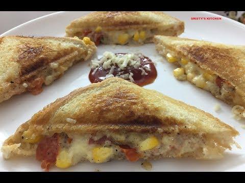 Corn Tomato Toast Sandwich | Cheesy Veg Sandwich | Mayo Cheese Corn Tomato Sandwich
