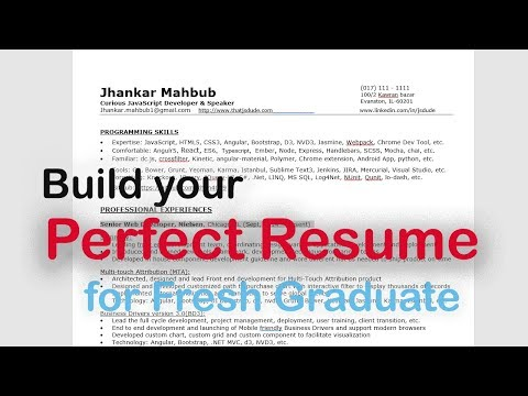 Build your Perfect Resume for Fresh Graduate