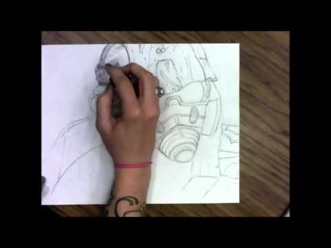 Ms. Sutton Fallout New Vegas Riot Gear Time Lapse Drawing