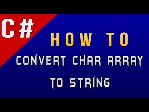 How to Convert Char Array to String in C#/Csharp