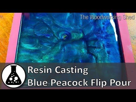 Resin Casting - Blue Peacock Flip Pour