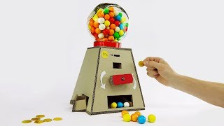 DIY Gumball Machine Money Operated from Cardboard at Home