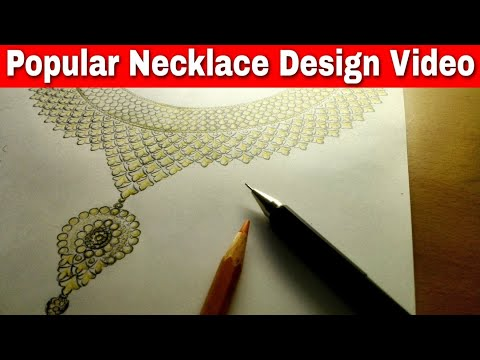 How To Create Big Necklace Design Drawing   Jewellery Design   Full Video