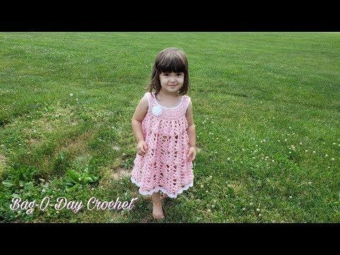 How To Crochet Round the Rosie Toddler Dress Crochet Baby Dress TUTORIAL #485