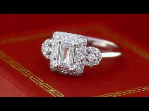 1.25Ct Vintage Style Diamond Engagement Ring Emerald Cut in 14K White Gold