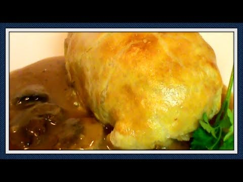 Chicken with Herbed Goat Cheese in Puff Pastry with Mushroom Gravy