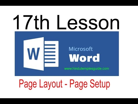 MS word 17th lesson Page layout Tab Page Setup Telugu Computer Class