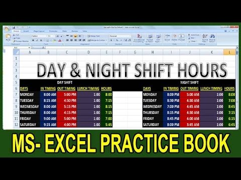 Exercise 10   Excel Practice Book   How To Calculate Day-Night Shift Hours Salary In Ms Excel