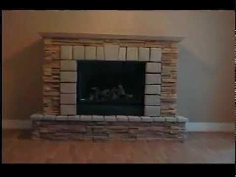 Fireplace with custom stone cabinet