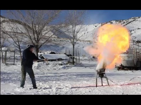 Pouring Liquid Nitrogen On A Grease Fire