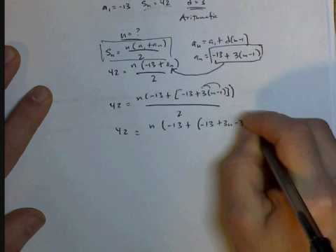 Find n in an arithmetic series given a1, d, and Sn
