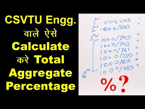 How to Calculate CSVTU Engg. Total Aggregate Percentage/ Marks (In Hindi)