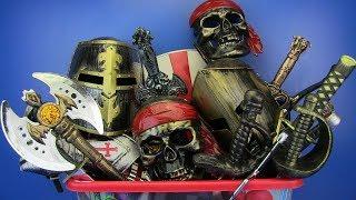 BOX OF TOYS ! Pirates ,Ninja toys & equipment- Sword,Bow,Guns toys for kids