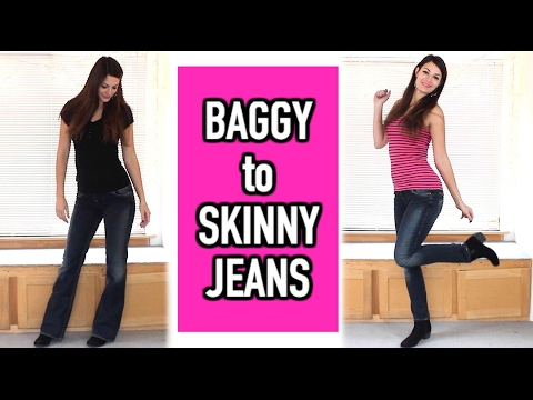 How to Make Skinny Jeans From Baggy Jeans - DIY Denim Fitted from Baggy Jeans - Transformation