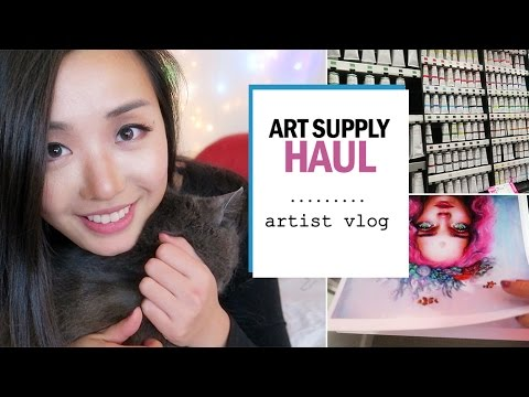 Art supply haul & making prints! // ARTIST VLOG 2
